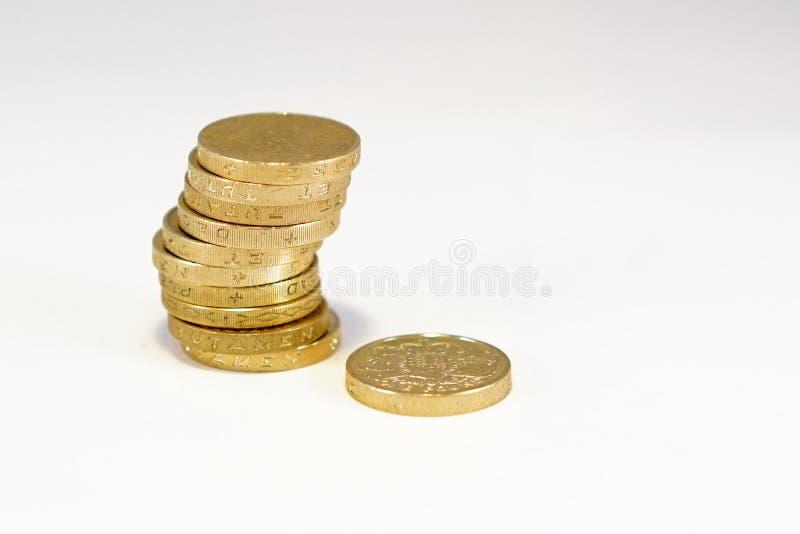 Pièces de monnaie de livre britannique image libre de droits