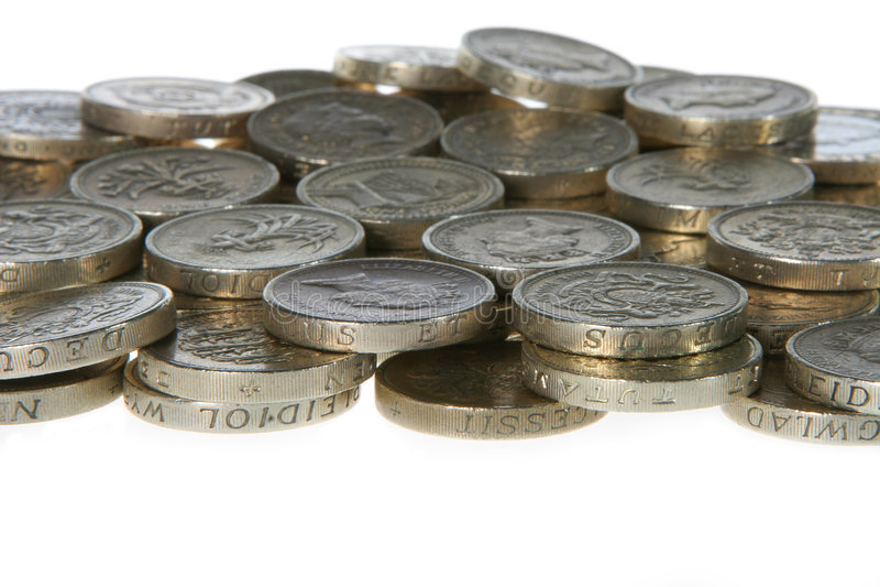 Pièces de monnaie de livre, R-U photo libre de droits