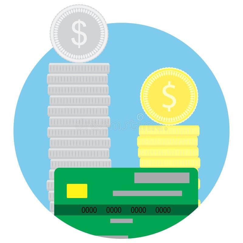 Pièces de monnaie de pile d'argent et carte de crédit illustration de vecteur