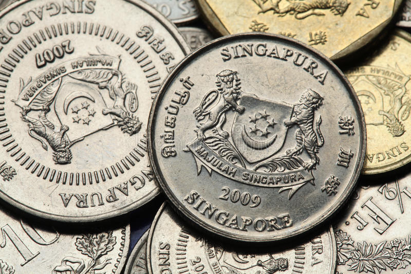 Pièces de monnaie de Singapour images libres de droits