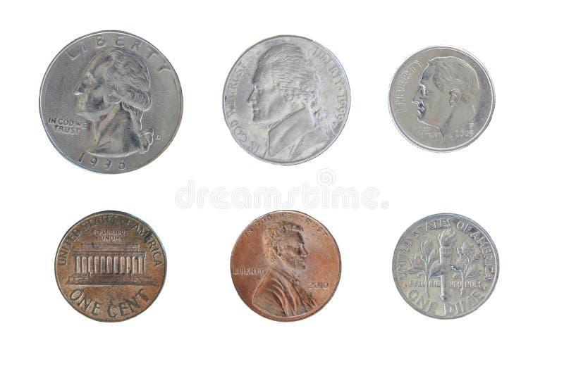 Pièces de monnaie des Etats-Unis d'isolement sur le blanc photos stock