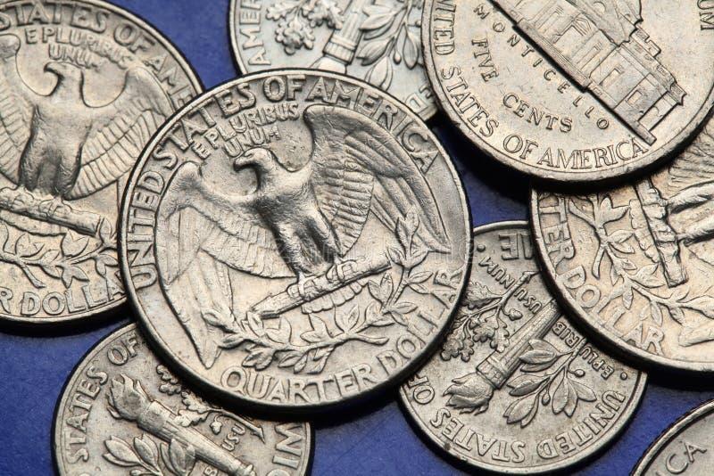 Pièces de monnaie des Etats-Unis Quart des USA Aigle chauve photo libre de droits