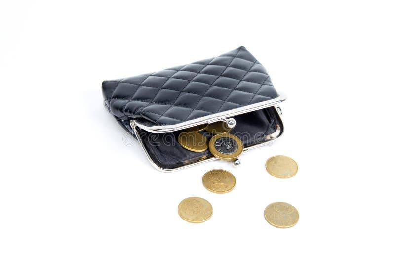 Pièces de monnaie du vieux portefeuille sur un fond blanc Bourse vide de vintage pauvreté Faillite photos stock