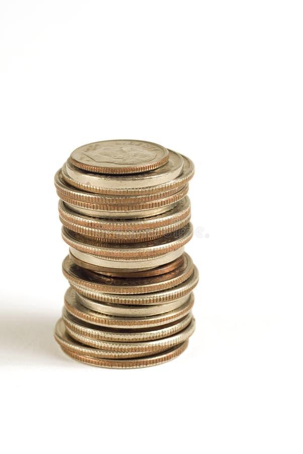 Pièces de monnaie empilées image libre de droits