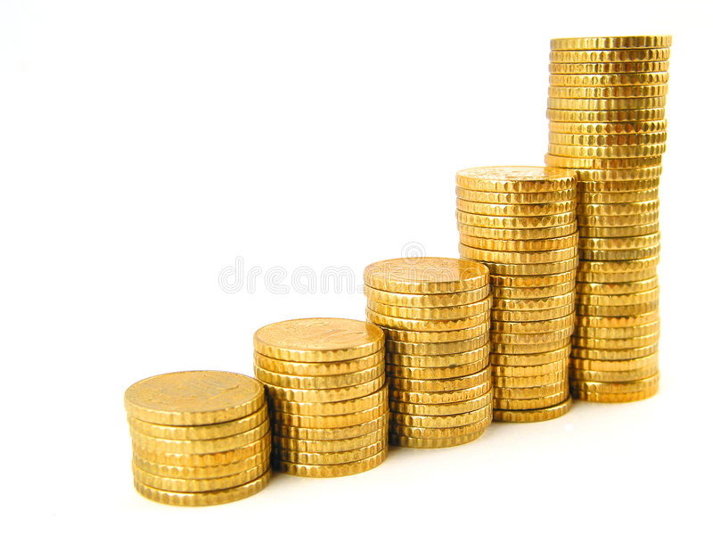 Pièces de monnaie en hausse images libres de droits