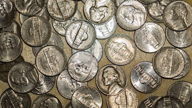 Pièces de monnaie en nickel des Etats-Unis photo libre de droits