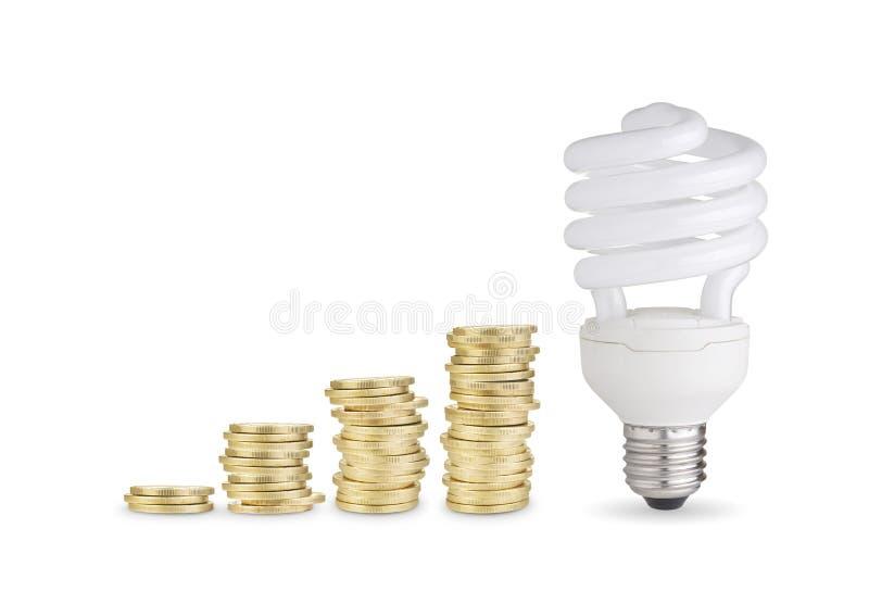 Pièces de monnaie et ampoule d'épargnant d'énergie photo stock