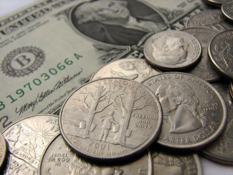 Pièces de monnaie et dollar américains, état du Vermont, argent images stock