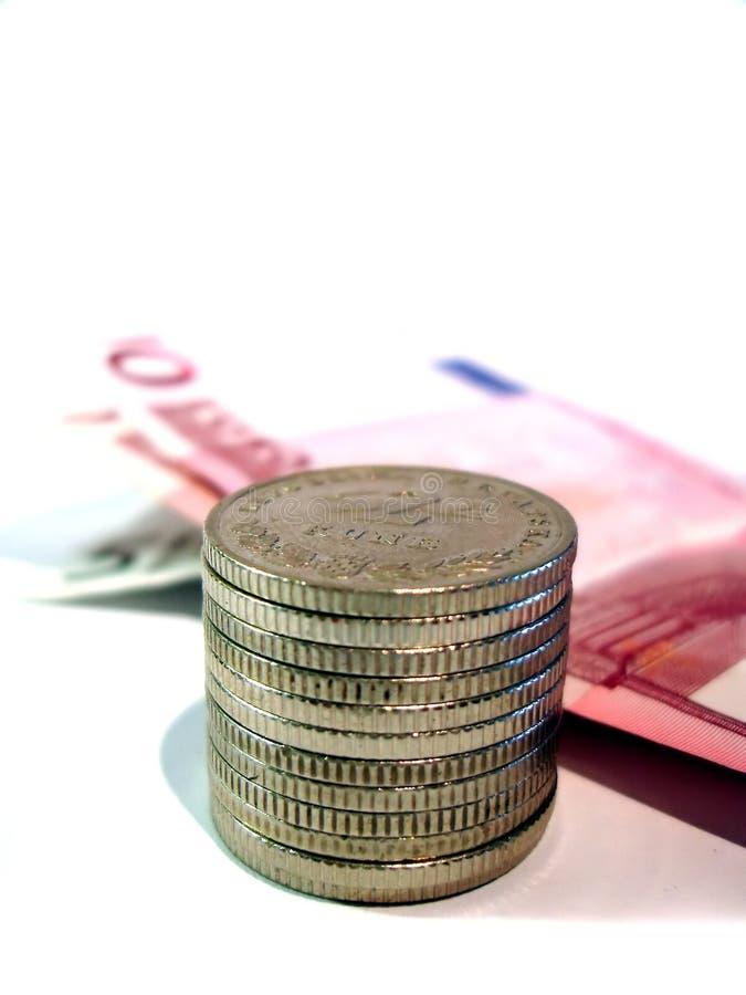 Pièces de monnaie et euro photographie stock libre de droits