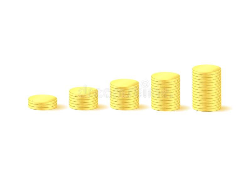 Pièces de monnaie de graphique d'argent illustration stock