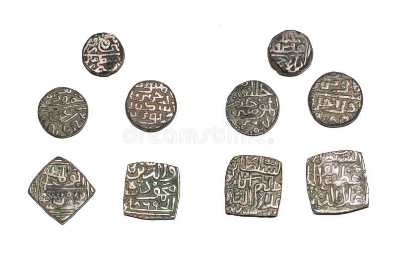 Pièces de monnaie islamiques du sultanat de l'Inde photo stock