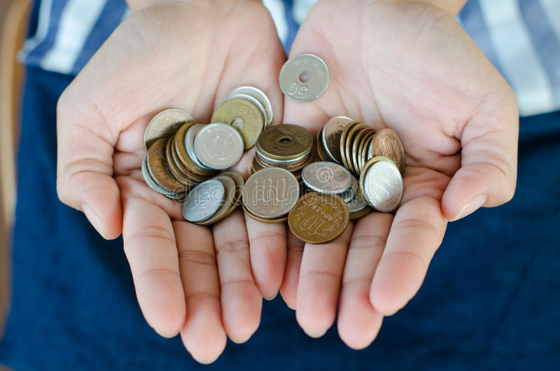 Pièces de monnaie japonaises images stock