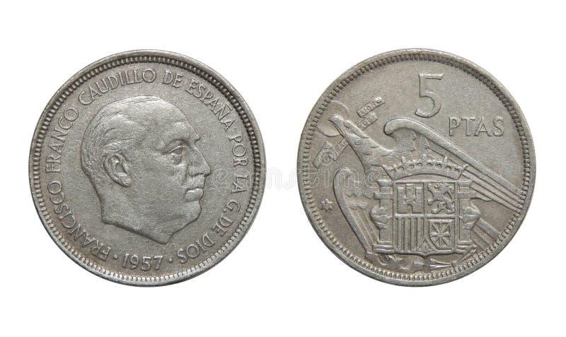 Pièces de monnaie de l'Espagne 5 pesetas 1957 images libres de droits