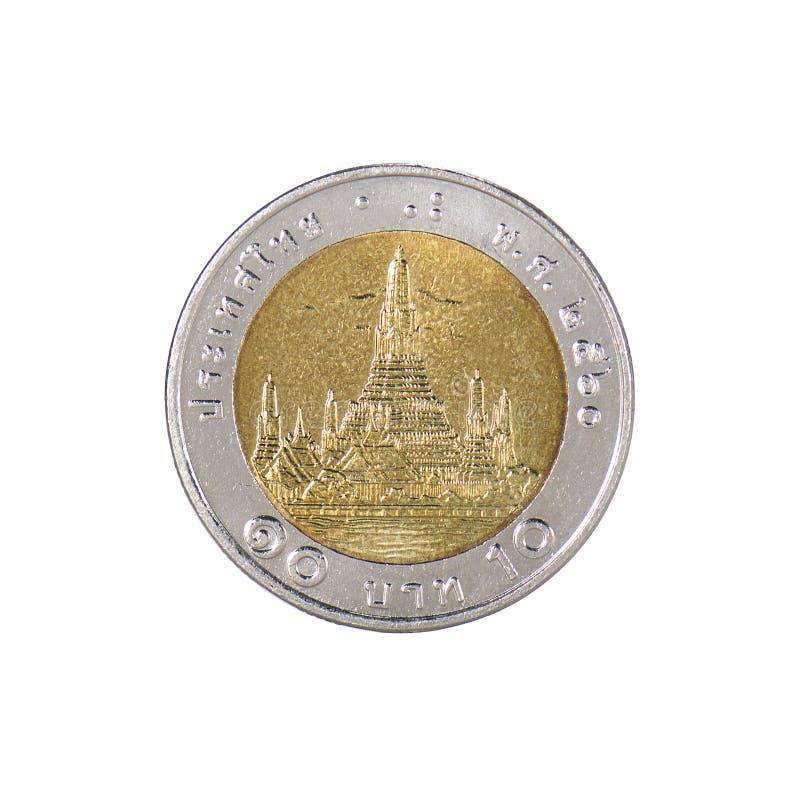 Pièces de monnaie de la Thaïlande, baht dix photo libre de droits