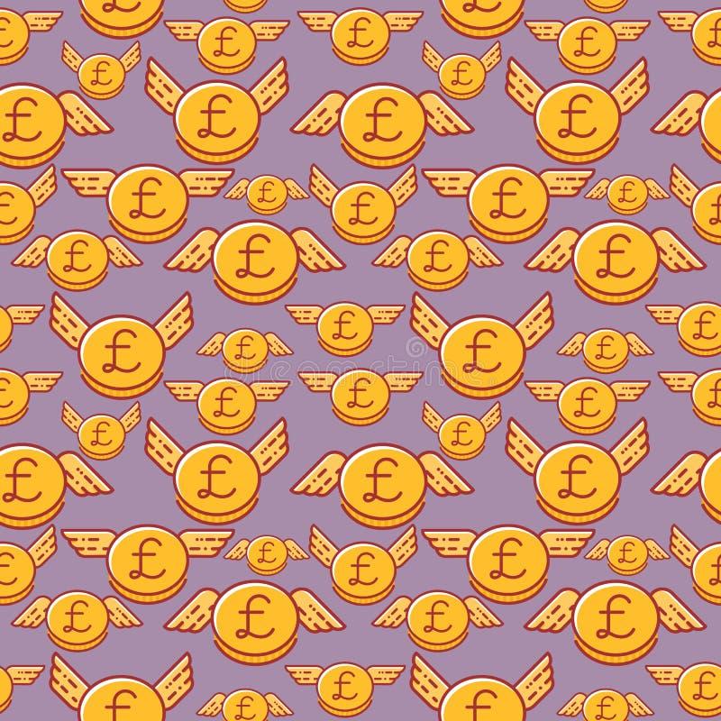 Pièces de monnaie de livre britannique avec des ailes, modèle sans couture de vecteur, devise britannique illustration stock