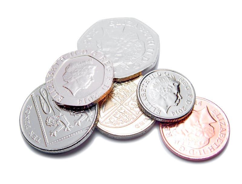 Pièces de monnaie de livre britannique GBP images libres de droits