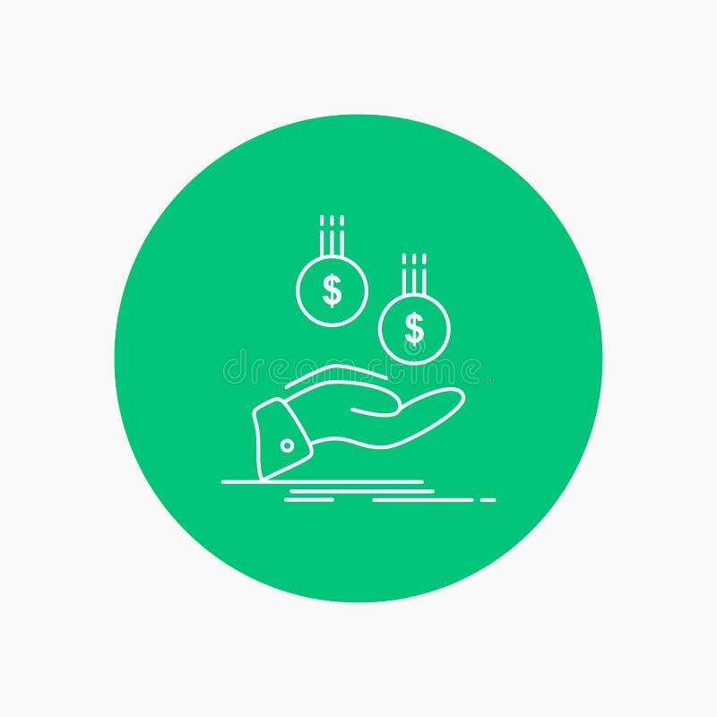 pièces de monnaie, main, devise, paiement, ligne blanche icône d'argent à l'arrière-plan de cercle Illustration d'ic?ne de vecteu illustration de vecteur