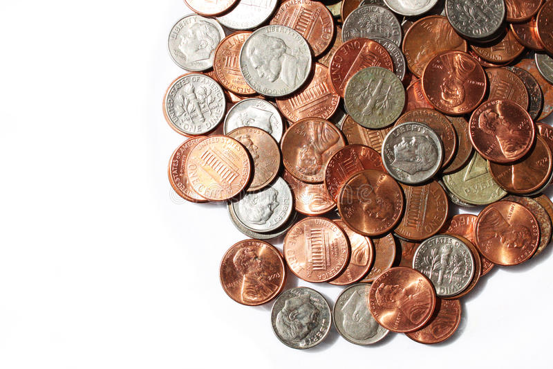 Pièces de monnaie, nickels et dixièmes de dollar photo stock