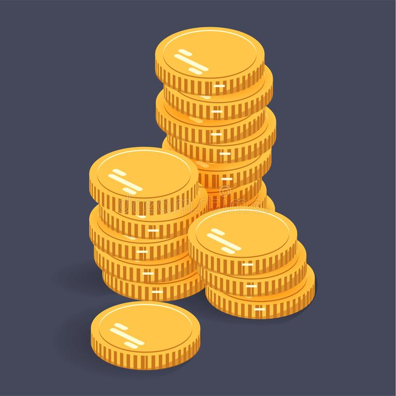 Pièces de monnaie de pile d'or Dirigez l'icône isométrique d'argent sur un fond coloré Icône plate d'argent dans le style isométr illustration stock