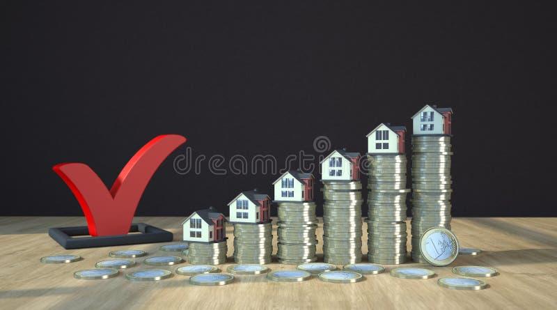 Pièces de monnaie rouges de coutil et d'euro illustration libre de droits