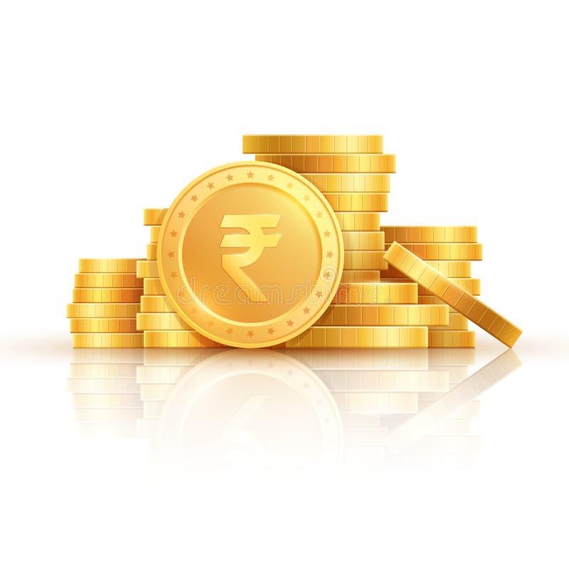 Pièces de monnaie de roupie d'or Argent indien, pièces de monnaie d'or empilées Argent liquide de roupie, devise d'isolement sur  illustration stock