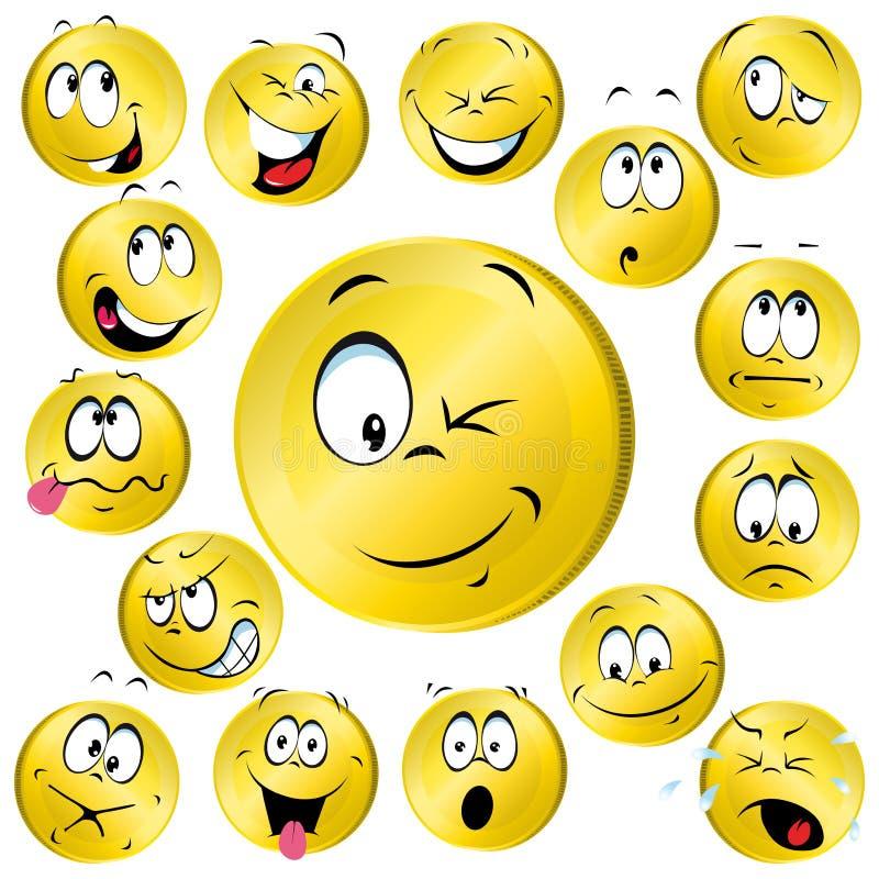Pièces de monnaie souriantes de visage illustration de vecteur