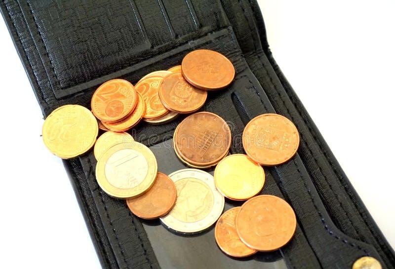 Pièces de monnaie sur le portefeuille photo libre de droits