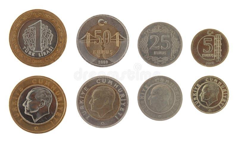 Pièces de monnaie turques d'isolement sur le blanc photos stock