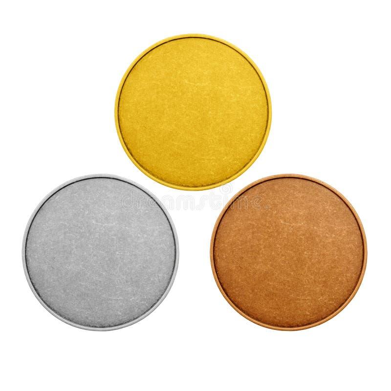 Pièces de monnaie vides, couleur de médailles de jeux image stock