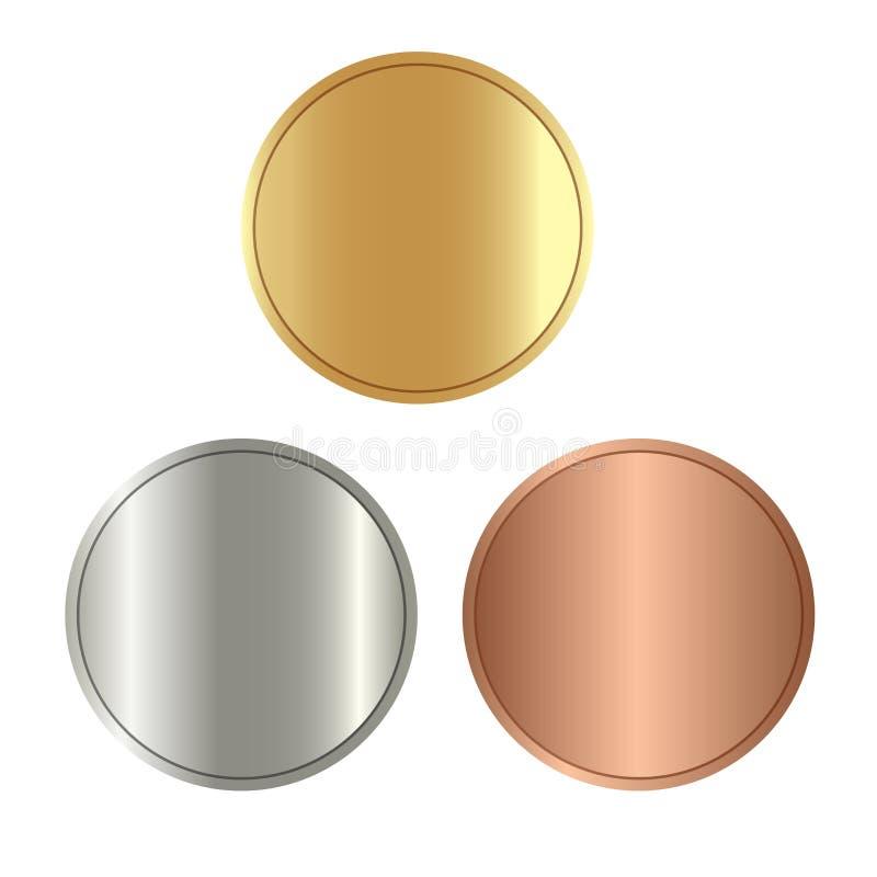 Pièces de monnaie vides, couleur de médailles de jeux illustration libre de droits