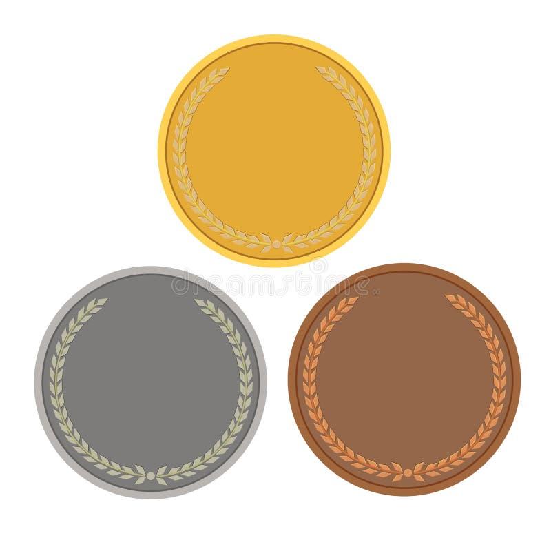 Pièces de monnaie vides, couleur de médailles de jeux illustration stock