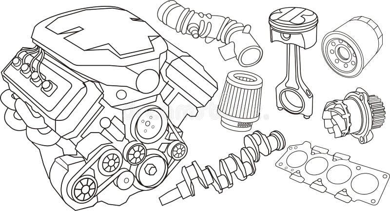 pièces de moteur de véhicule illustration stock