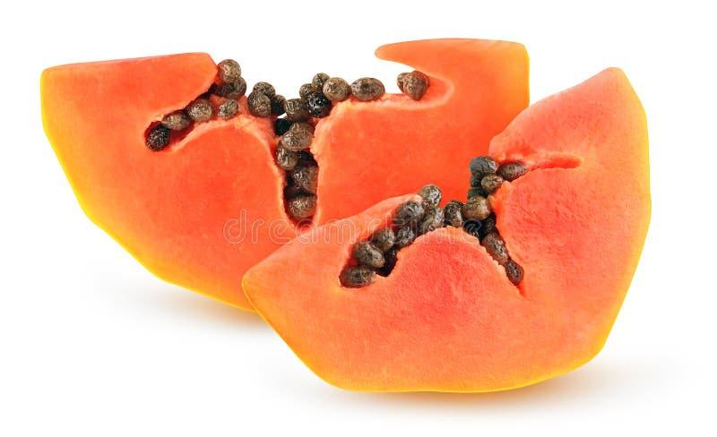 Pièces de papaye isolées photographie stock libre de droits