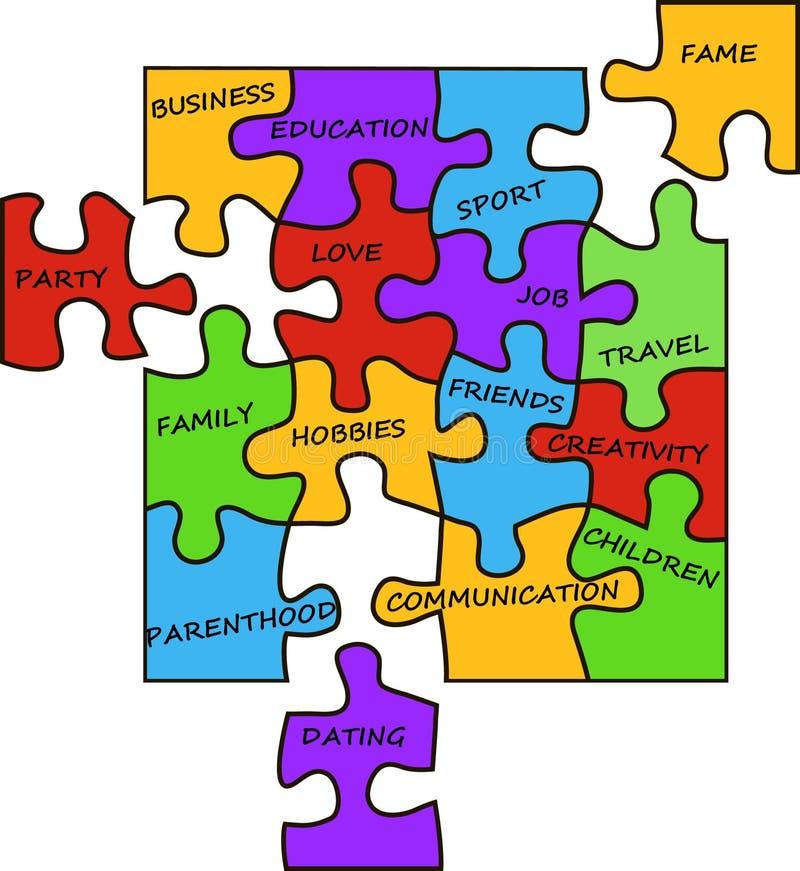 Pièces de puzzle de la vie illustration stock