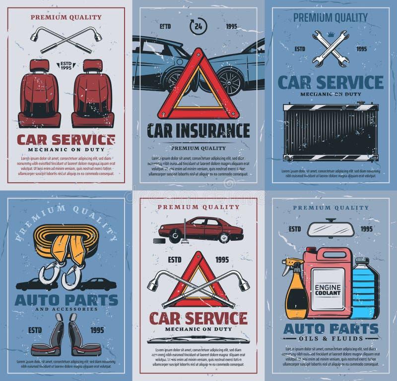 Pièces de rechange, assurance automobile, réparation de véhicules rétro-automobiles illustration stock