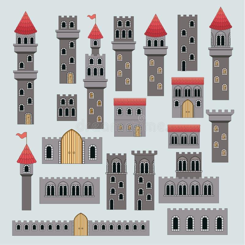Pièces de structure de château en silhouette colorée illustration libre de droits