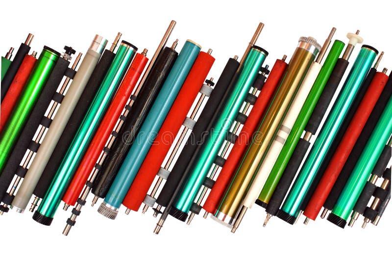 Pièces de vieilles imprimantes à laser, d'isolement sur le fond blanc photo stock