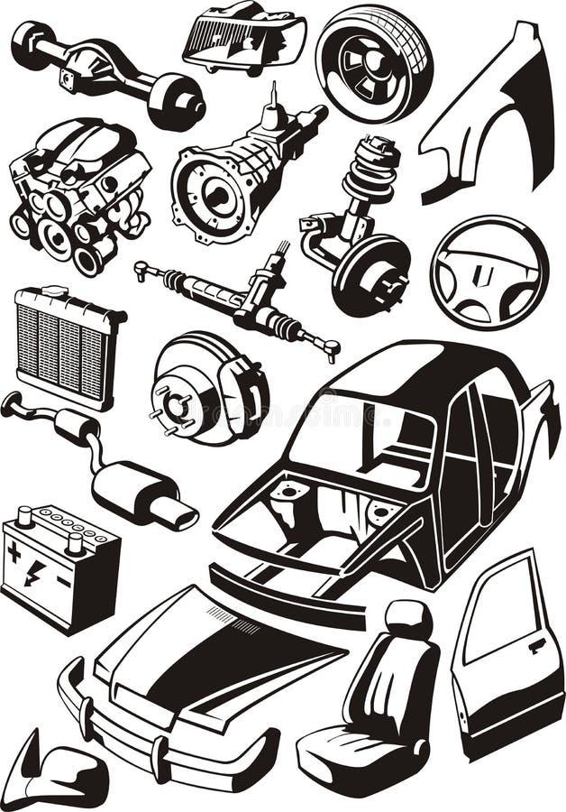Pièces de voiture illustration libre de droits