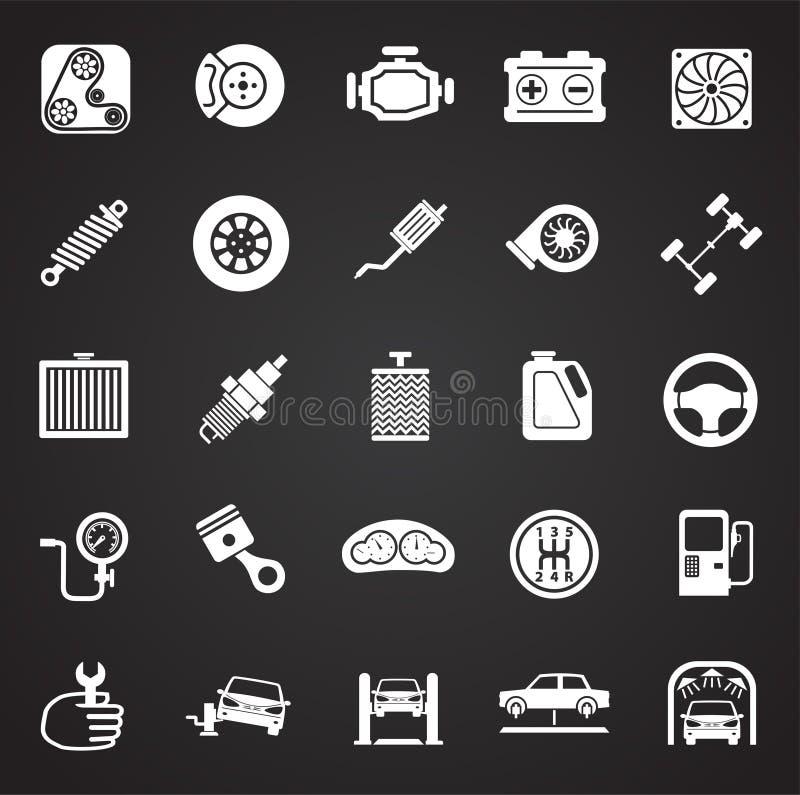 Pièces de voiture et ensemble de réparation sur le fond noir pour le graphique et la conception web, signe simple moderne de vect illustration libre de droits