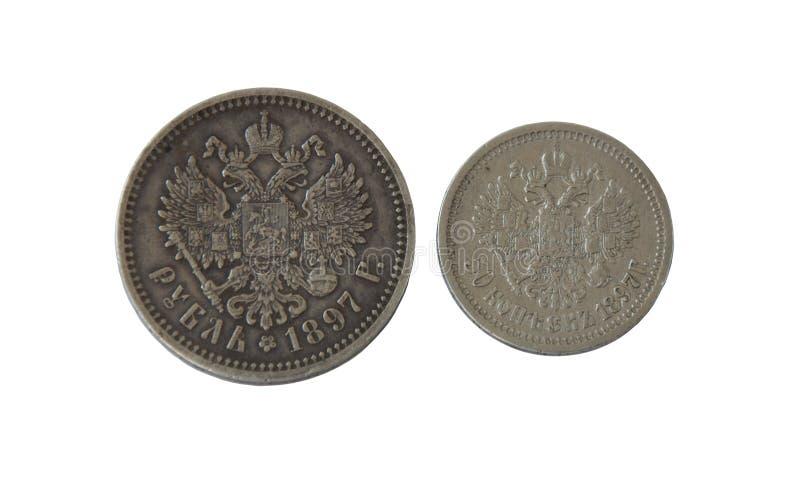 Pièces en argent antiques, empire russe pendant le règne de Nicholay 2 images libres de droits