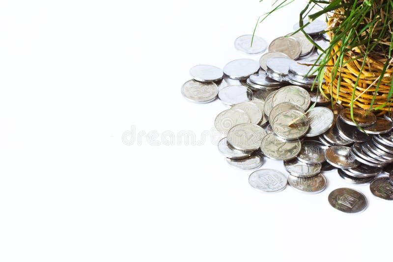Pièces en argent, finances photo stock