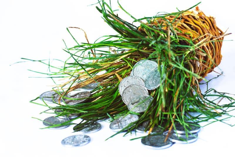 Pièces en argent, finances photographie stock libre de droits