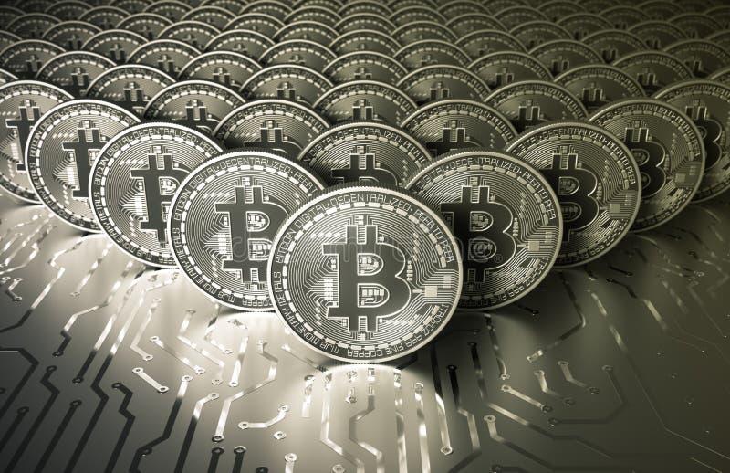 Pièces en argent virtuelles Bitcoins de platine sur la carte électronique illustration libre de droits