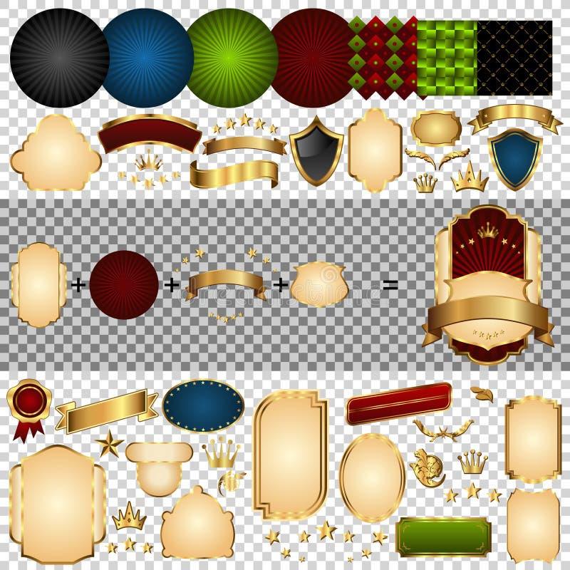 pièces Or-encadrées d'étiquettes illustration de vecteur