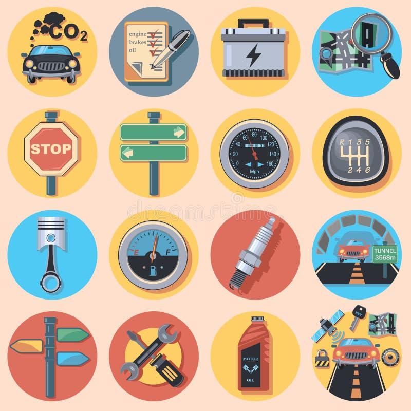 Pièces et icônes de voiture illustration stock