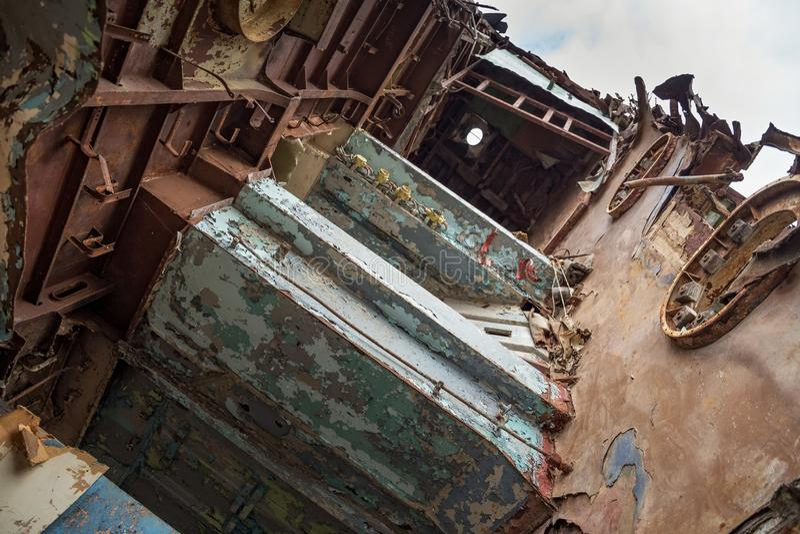 Pièces internes de bateau marin désarmé photographie stock libre de droits