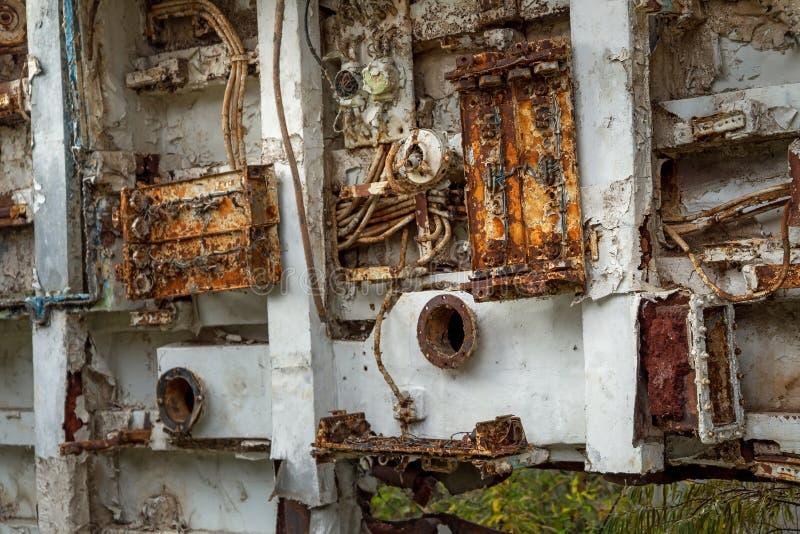 Pièces internes de bateau marin désarmé photos libres de droits