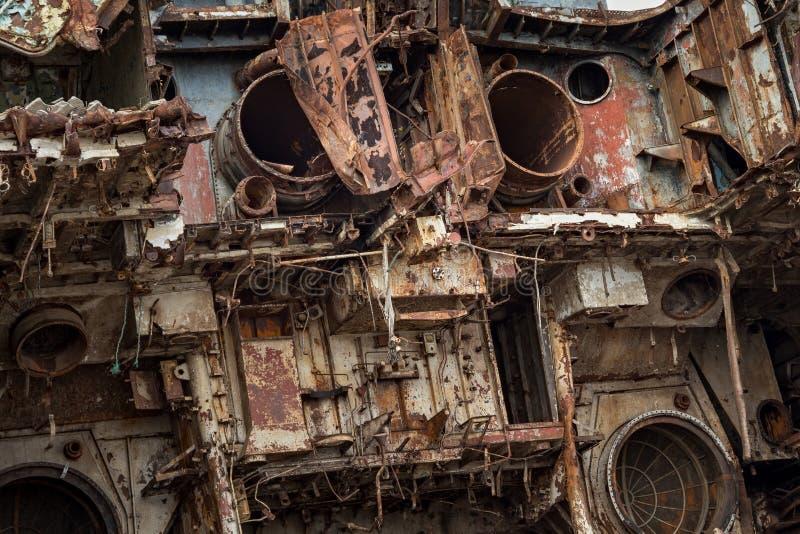 Pièces internes de bateau marin désarmé image libre de droits