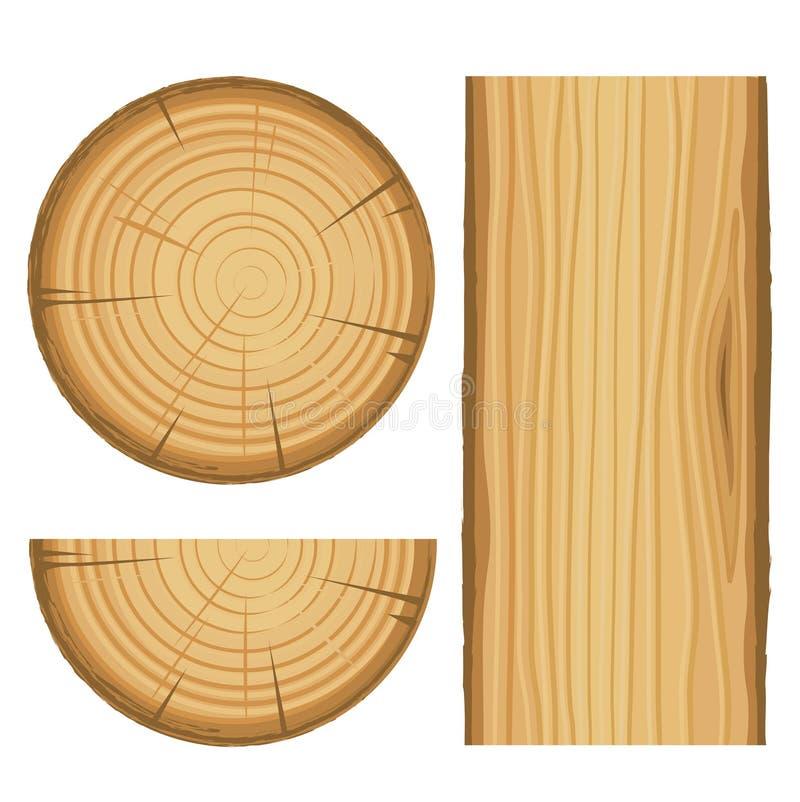 Pièces matérielles en bois de vecteur illustration stock