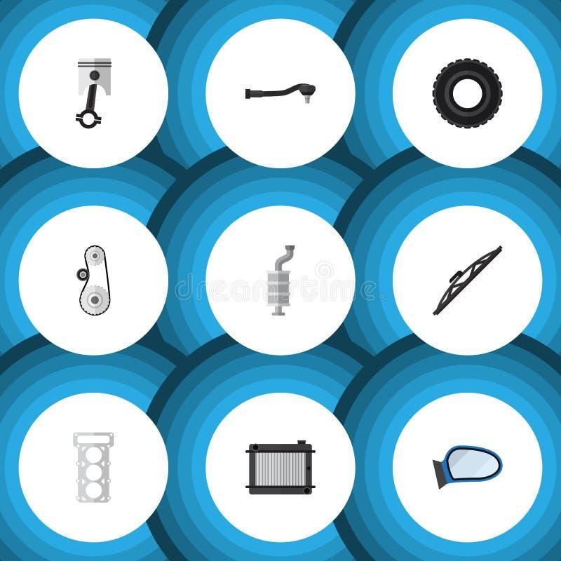 Pièces plates d'icône réglées de la technologie de saisie, du Cambelt, de l'emballage et d'autres objets de vecteur Inclut égalem illustration stock